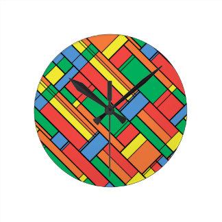 Farbblöcke Runde Wanduhr