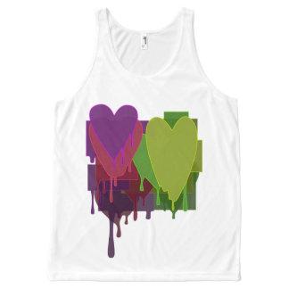 Farbe blockiert schmelzende Herzen - wählen Sie Komplett Bedrucktes Tanktop