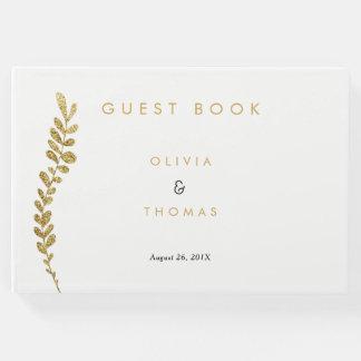 FarbEditable Imitat-Goldblatt-Hochzeits-Gast-Buch Gästebuch