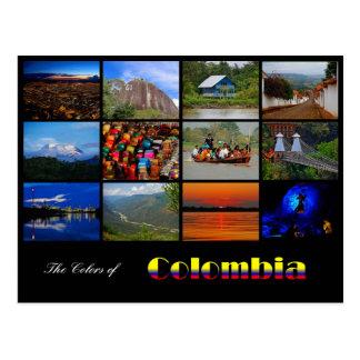 Farben der Kolumbien-Reise-Postkarte Postkarte