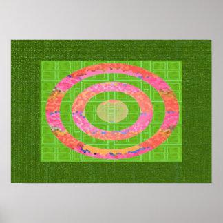 Farben des Grüns und Chakra des ovalen Poster