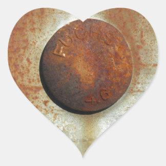 Farben des Rosts Ob1.01, Rost-Kunst Herz-Aufkleber