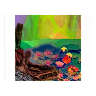 Farben dringen den Himmel, die Lilien bedecken den Postkarte