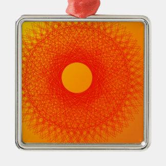 färben Sie orange happines abstrakte Kunst Quadratisches Silberfarbenes Ornament