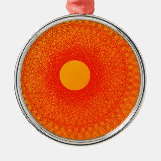 färben Sie orange happines abstrakte Kunst Rundes Silberfarbenes Ornament