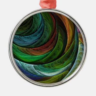 Färben Sie Ruhm-abstrakte Kunst rund Silbernes Ornament