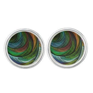 Färben Sie Ruhm-abstraktes Kunst-Silber überzogen Manschettenknöpfe