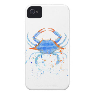 Farben-Spritzer der blauen Krabbe des Watercolor iPhone 4 Hüllen