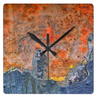 Farben von Rost 065, Rost-Kunst Quadratische Wanduhr