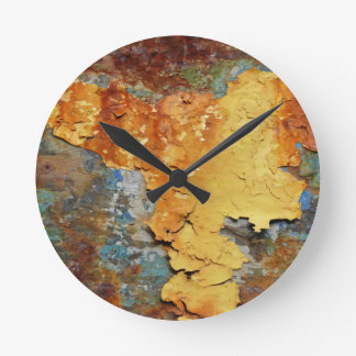Farben von Rust_894, Rost-Kunst Runde Wanduhr