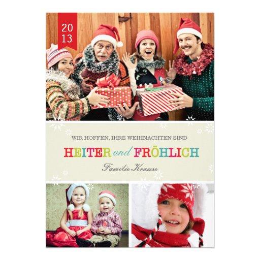 Farbenreich Foto Weihnachtskarte Personalisierte Einladungen