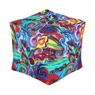 Farbexplosion Kubus Sitzpuff