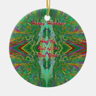 Farbexplosions-abstrakter Entwurf Rundes Keramik Ornament