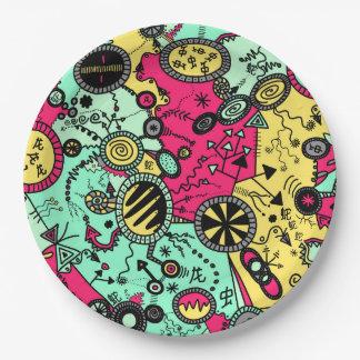 Farbgekritzel Pappteller 22,9 Cm