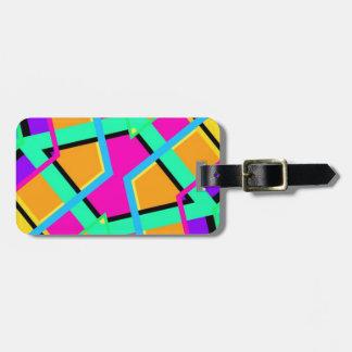 Farbgeometrisches Muster mit Linien und Quadraten Gepäckanhänger