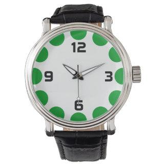 Farbhalbmond - Gras-Grün auf Weiß Uhr