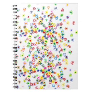 Farbige Blumen Spiral Notizblock