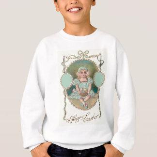 Farbige Ei-Rose Mädchen-Ostern Korb Sweatshirt