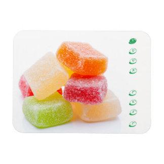 Farbige gummiartige quadratische Süßigkeiten Magnet
