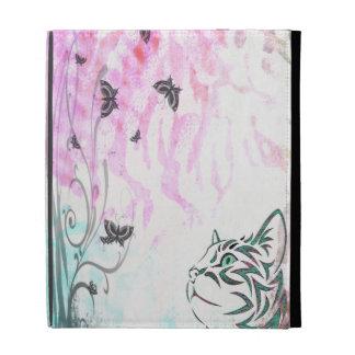 Farbige Katze, Schmetterlinge und BlumenWirbel