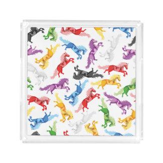Farbige Muster-springende Pferde Acryl Tablett
