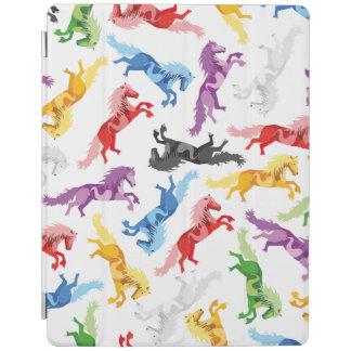 Farbige Muster-springende Pferde iPad Hülle