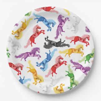 Farbige Muster-springende Pferde Pappteller