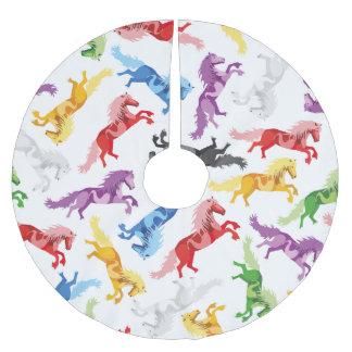 Farbige Muster-springende Pferde Polyester Weihnachtsbaumdecke