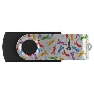 Farbige Muster-springende Pferde USB Stick
