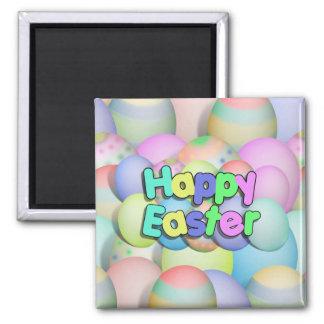 Farbige Ostereier - fröhliche Ostern Quadratischer Magnet