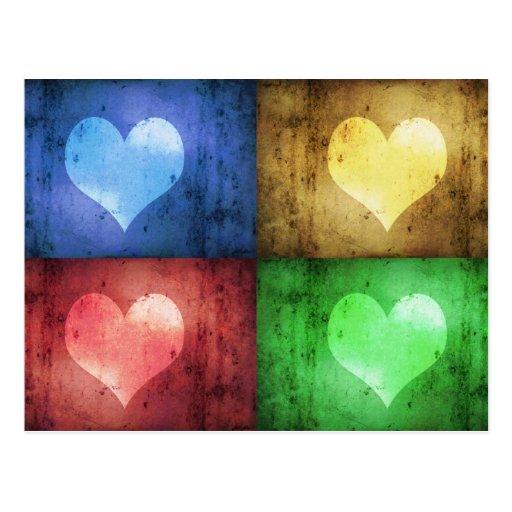 Farbige Schmutz-Herzen - Postkarte