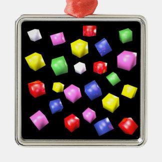 Farbige Würfel 3d übertragen Silbernes Ornament