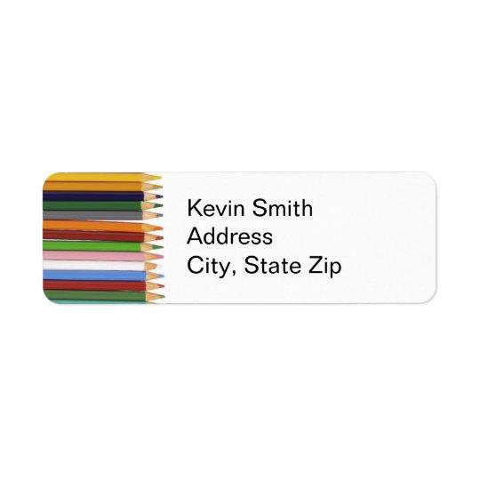 Farbiger Bleistift-Rücksendeadressen-Aufkleber