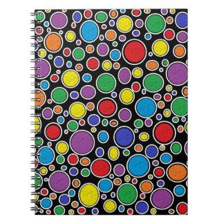 Farbiges Blasen-schwarzes Notizbuch