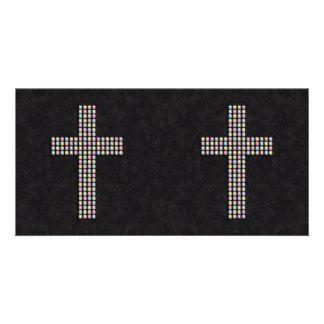 Farbiges Edelstein-Kreuz Individuelle Foto Karte