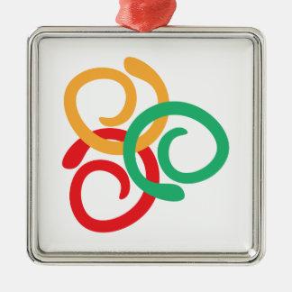 Farblogo Quadratisches Silberfarbenes Ornament