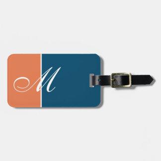 Farborange Blau der Gewohnheits-zwei Kofferanhänger