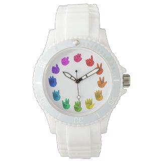 Farbrad asl-Gebärdensprachezahlen Armbanduhr