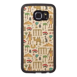 Farbsymbole von Ägypten-Muster Handyhülle Aus Holz