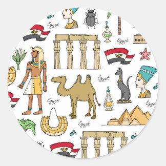 Farbsymbole von Ägypten-Muster Runder Aufkleber