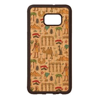 Farbsymbole von Ägypten-Muster Samsung Galaxy S6 Edge Holzhülle