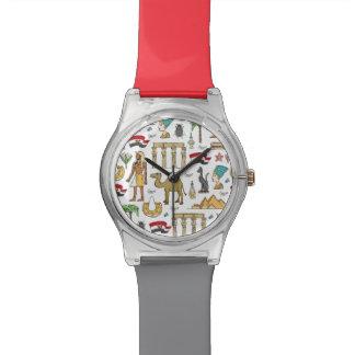 Farbsymbole von Ägypten-Muster Uhr