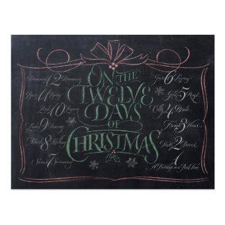Farbtafel-Beschriftung '12 Tage Weihnachten Postkarte