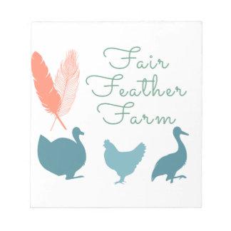 FarmTransparentFair Feder-Bauernhof-Logo Notizblock