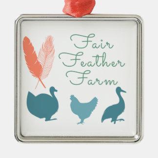 FarmTransparentFair Feder-Bauernhof-Logo Quadratisches Silberfarbenes Ornament