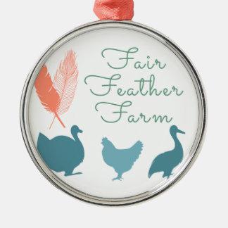 FarmTransparentFair Feder-Bauernhof-Logo Rundes Silberfarbenes Ornament
