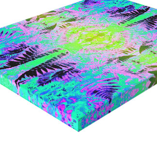 Farn-Blatt-Fraktal blau/Grün Leinwanddruck