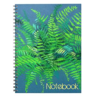 Farn, Blumen-, kundengerechtes, Grün, Blau u. Grün Notizblock