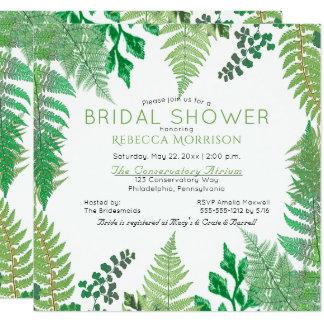 Farn-Brautparty-Einladungen des Grün-| wilde Quadratische 13,3 Cm Einladungskarte