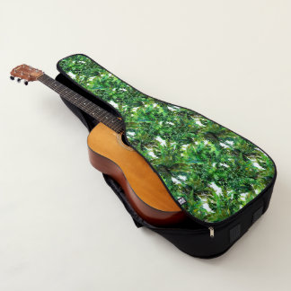 Farnwaldfallmuster des Aquarells grünes Gitarrentasche